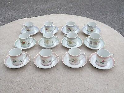 Haviland Limoges Empress Josephine Demitasse Cup and Saucer Set of 12