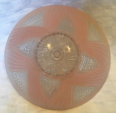 Vintage Heavy Pink Swirl Hobnail Frosted Glass Ceiling Light Shade Deco Mid-Mod