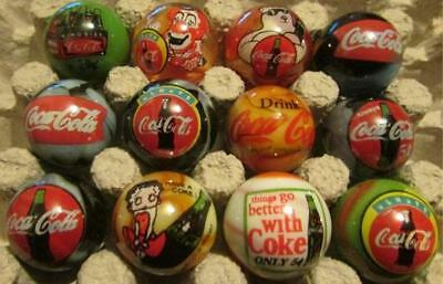 Lot of 12 Coca Cola Advertising Glass Marbles