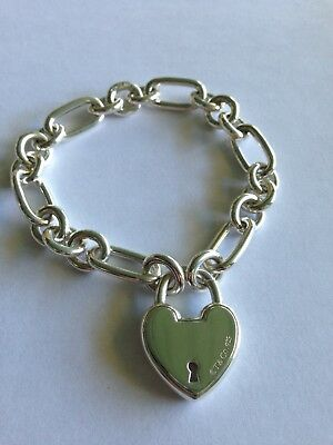 6c2b33dcc Tiffany & Co Return to Tiffany Love Lock 925 Sterling Silver Bracelet SMALL  ...