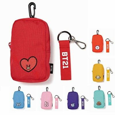 KPOP BTS BT21 COOKY TATA Charm Shoulder Pouch Bag Girls Fashion Purse Keychain