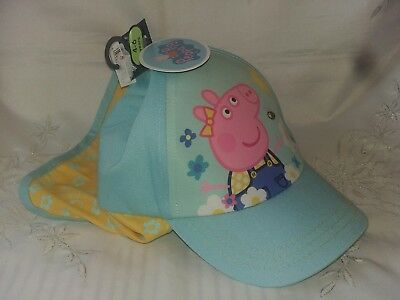 George Asda Peppa Pig Cap With Neck Protection Blue Yellow Age 4 6 New Tags