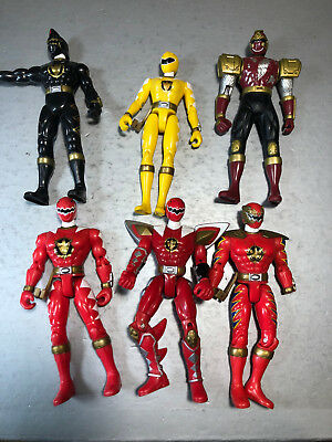 Original 2003 Power Rangers  Bandai Vintage 6 Action Figure Lot red yellow black