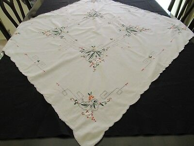 Small SQUARE TABLECLOTH with EMBROIDERY extensive & pretty with scalloped edges