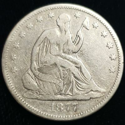 1877 S US Seated Liberty Half Dollar .50c Cent .900 Silver Coin 2SLH7701