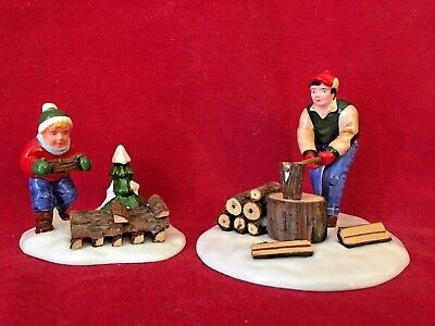 Chopping Firewood Dept 56 Snow Village 54863 accessory Christmas city WHITE A