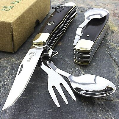 "7.25"" ELK RIDGE WOOD HOBO FOLDING KNIFE w/ FORK & SPOON Utensil Tool Camping"