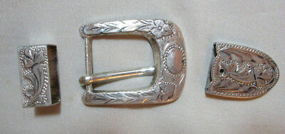 Belt Buckle Slide and End Sterling Silver Vntage by ALC Mexico