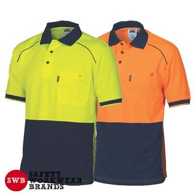 DNC Workwear Mens Hi Vis Cool 2 Tone Front Piping Polo Shirt Top Safety New 3754