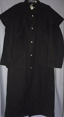 VTG Mens GHOST RIDERS Black Duster Jacket Coat Trench Western Coat Sz Small