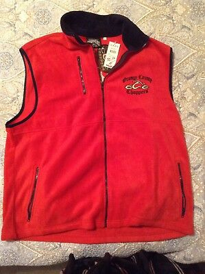 Orange County Choppers Unisex Xl Red Fleece Vest Embroidered Logos New With Tags