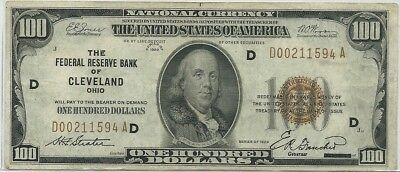 1929 Cleveland $100 National Currency Serial # D00211594A Ohio Bank Note