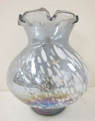 Mt. St. Helen's Volcanic Ash Hand Blown Art Glass Vase Made in Washington 1983
