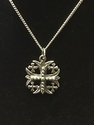 RETIRED JAMES AVERY Sterling Silver Jerusalem Beaded Cross Pendant and Chain