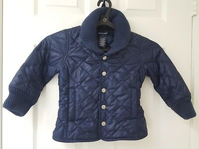 Ralph Lauren Girls Quilted Jacket Navy Blue (Size 3T)