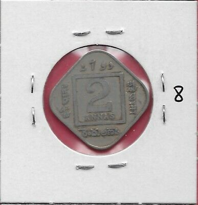India British 2 Annas 1918 F George V,crowned Bust Left Within Circle,legend.geo