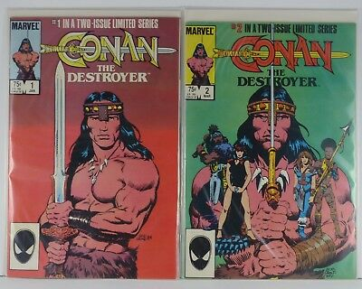 Conan The Destroyer #1 & 2 (Marvel Comics, 1985) Limited Series, Direct Editions
