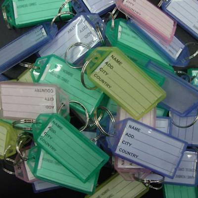 20pcs Key Rings Tags Plastic Assorted Color Plastic ID Card Identity Tags Label