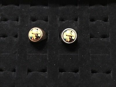 Two Different Vintage John Wayne Metal Adjustable Photo Rings-silver and gold