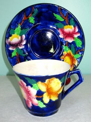 MALING Antique Art Deco Hand Painted Pottery Peonies Dark Blue Cup & Saucer