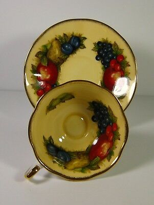 Queen's Fine Bone China Footed Tea Cup & Saucer Antique Fruit Series