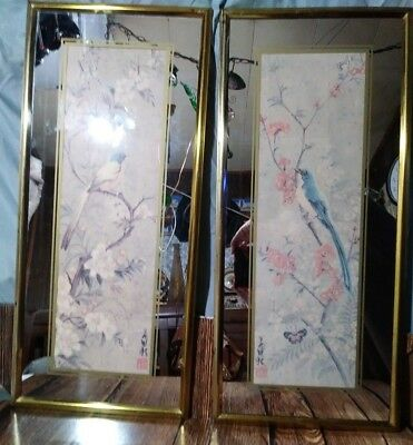 Antique BRYTONE NEW YORK Asian Floral Bird Mirror Framed Pictures