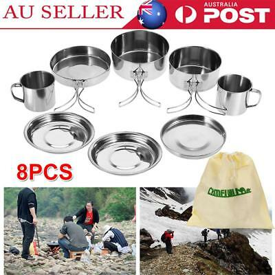8Pcs Stainless Camping Cookware Mess Kit Backpacking Camp Gear Outdoor Hiking AU