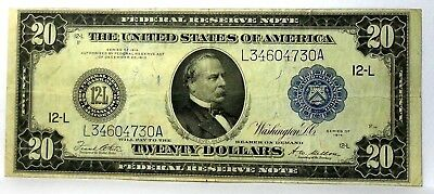 1914 $20 Dollar Bill San Francisco Federal Reserve Note Large Size Nice Conditio