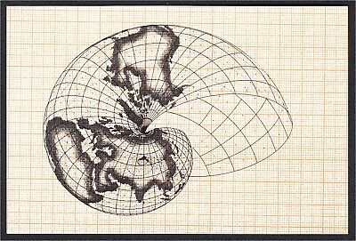 Postcard of Isometric Map Projections by Agnes Denes 1978 Art
