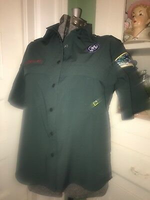 Boy Scouts Of America BSA Venturing Green Uniform Shirt Ladies XSmall Crater