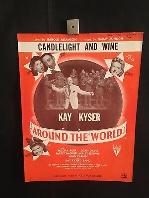1943 Around The World Movie Piano Sheet Music Book Candlelight & Wine Kay Kyser