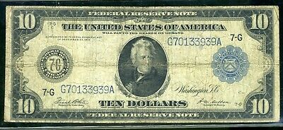 1914 United States Federal Reserve Note Legal Tender Large Size Currency Ten $10
