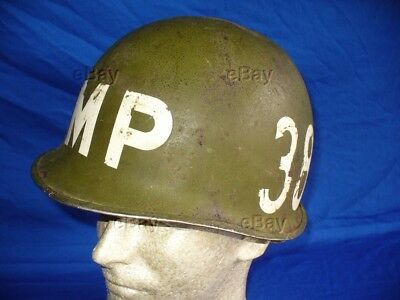 Ww2 M1 Helmet Mp Military Police Front Seam Fixed Bale Infantry Division 38Th Us
