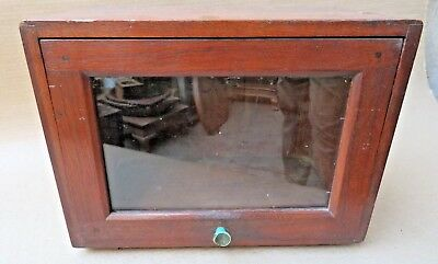 VTG WOOD Radio Case Box Mini storage cum BAR Table Tilt down GLASS DOOR Display