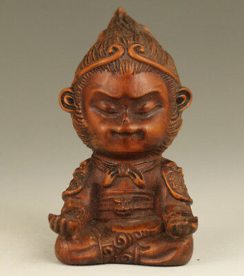 Rare ku kong Old Boxwood Hand Carved Buddha Figure Statue Noble gift home deco