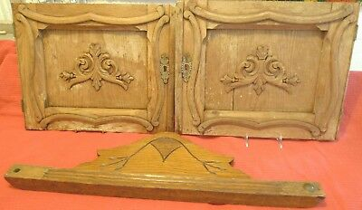 Antique Victorian Rococo Cupboard Doors Carved Oak Cabinet Escutchin Applique