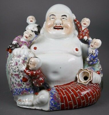 Fine Old Chinese Porcelain Famille Rose Signed Republic Laughing Buddha