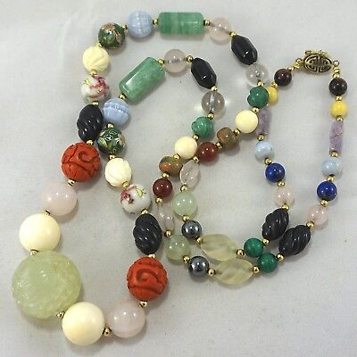 Vintage Chinese Carved HUGE Jade Bead Rock Quartz Onyx Cinnabar Necklace 34""