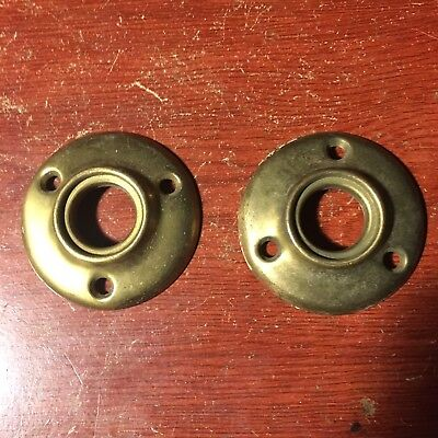 Antique Pair Of  Stamped Brass Round Door Knob Rosettes #4