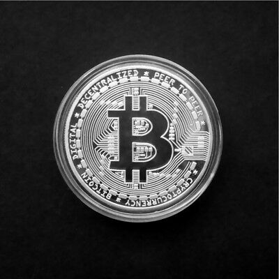 Gold Bitcoin Commemorative Round Collectors Coin Bit Coin is Silver Plated Coins