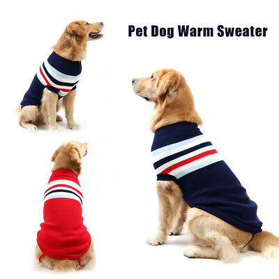 US Small Dog Clothes Pet Winter Stripe Sweater Puppy Clothing Warm Apparel Coat