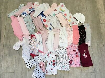 Baby Girl Newborn First Size clothes bundle vests sleepsuits leggings tops