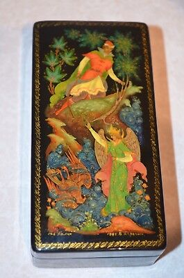 Vintage Russian Hand Painted Lacquer Box Palekh Ussr Signed 1985