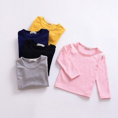 Toddler Baby Kids Girl Solid Candy Color Casual Cozy Long Sleeve T-shirt Blouse