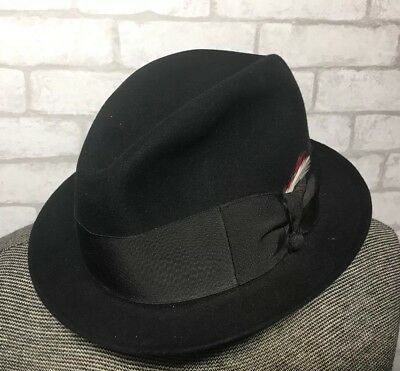 VTG New York Dunlap Supreme Black Felt Fedora Feather Hat Fitted Sz 6   7  055310ad847