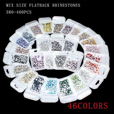 400p mix size Nail Art Rhinestones Glitter Crystal Gems Tips Decoration 46-color