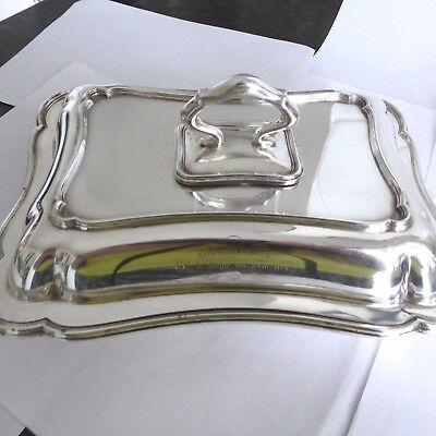 Antique Silver Plate Entree Dish Detachable Handle William Hutton -  Hard Solder