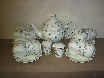 Staffordshire Oakwood Large Teapot Cups Saucers