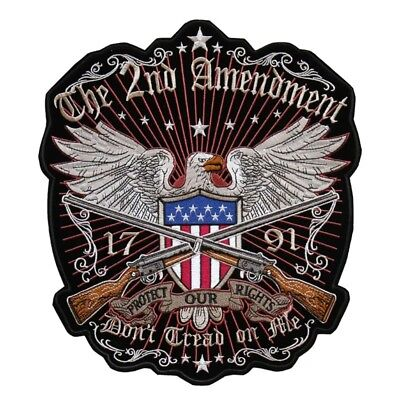 American/Eagle/2nd/Amendment/26.5*30cm/Sew on patch/Embroidered Patch/Biker