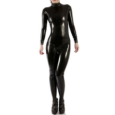 100% Gummi Latex Catsuit Pure Black Strumpfhosen Suit Rubber 0.4mm Size S-XXL